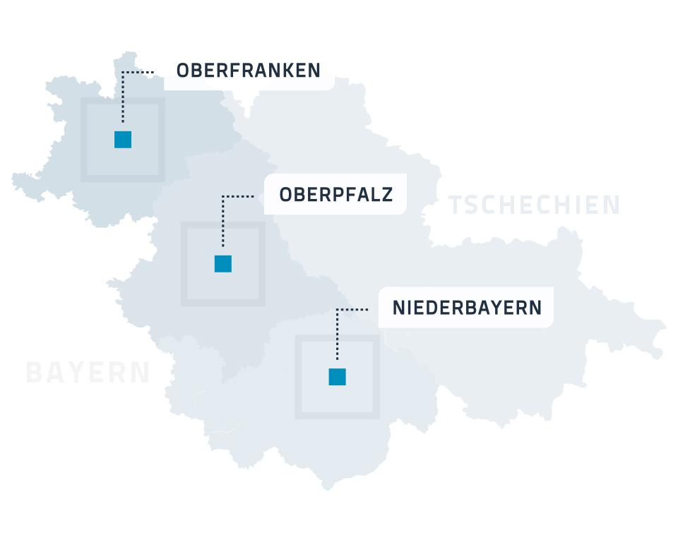 Karte - Beratungsbüros - bayerisch-tschechischer Grenzraum