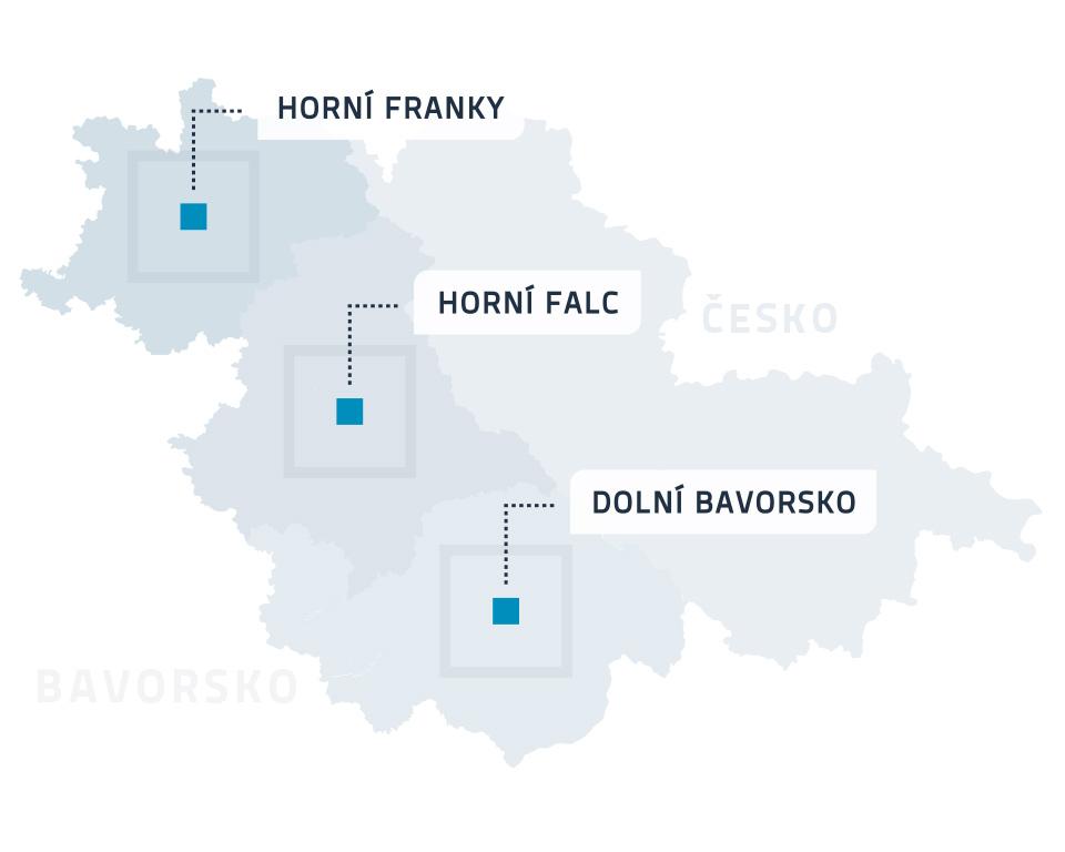 Mapa - Poradenské kanceláře- Česko-bavorské pohraničí